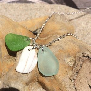 Jewelry - SEAFOAM & LIME Green Genuine Seaglass Necklace